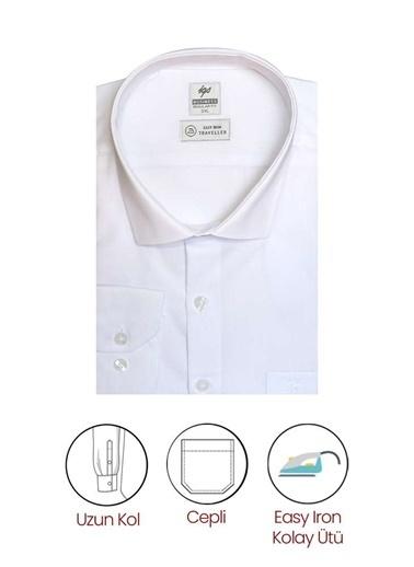 IGS Erkek Beyaz Regularfıt / Rahat Kalıp 7 Cm Klasık Gömlek Beyaz